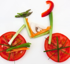 Symbolical bicycle made of vegetables as symbol and sign for vit